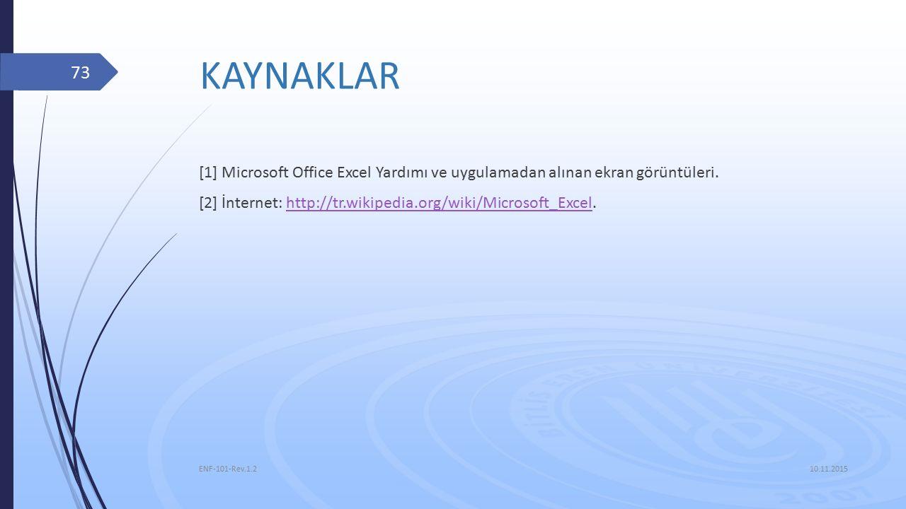 KAYNAKLAR [1] Microsoft Office Excel Yardımı ve uygulamadan alınan ekran görüntüleri. [2] İnternet: http://tr.wikipedia.org/wiki/Microsoft_Excel.